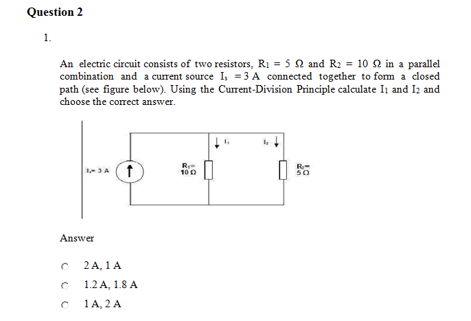 An electric circuit consists of two resistors, R1