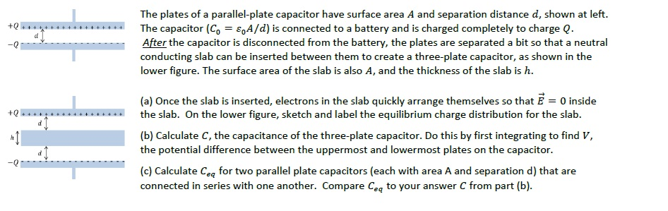 The plates of a parallel-plate capacitor have surf