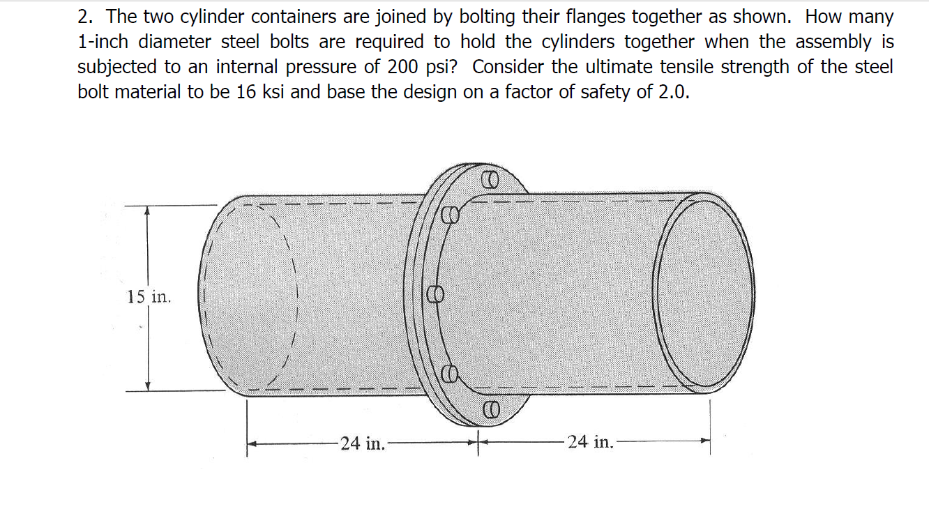 The two cylinder containers are joined by bolting