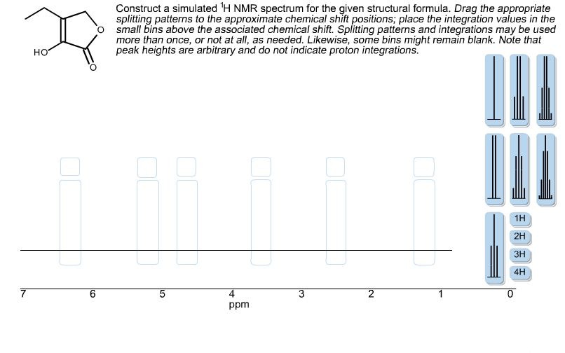 Construct a simulated 1H NMR spectrum for the give