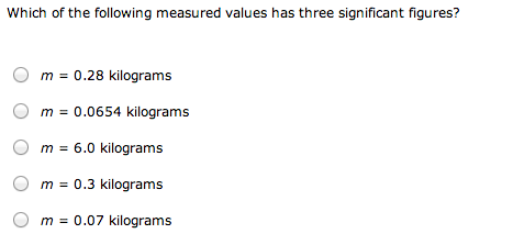 Which of Che following measured values has three s