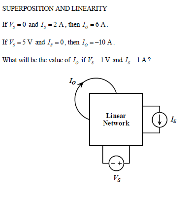 SUPERPOSITION AND LINEARITY If Vs=0 and Is = 2 A,