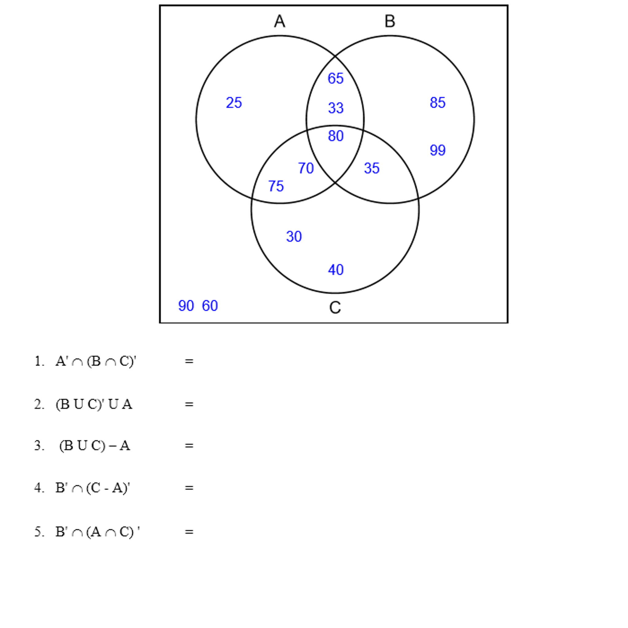 Question: A' intersection (B intersection C)'  (B union C)' union A =  (B union C) - A =  B' intersection (...