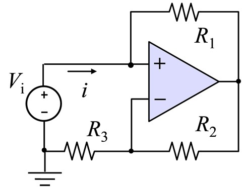 Find the current i in the circuit below with R1 =