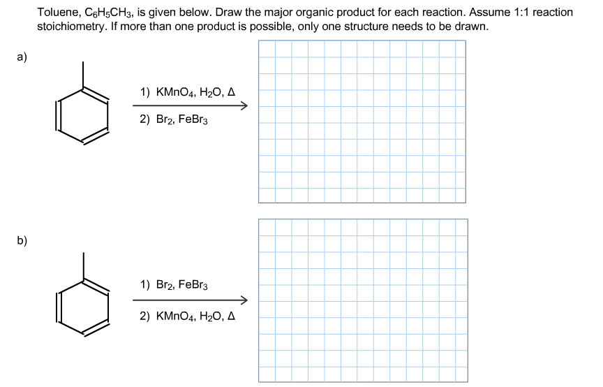 Toluene, C6H5CH3, is given below. Draw the major o
