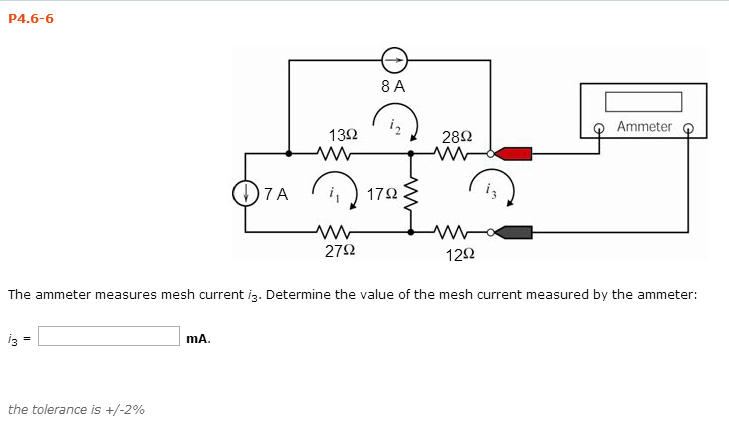The ammeter measures mesh current i3. Determine th