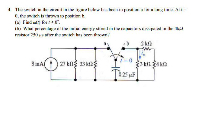 The switch in the circuit in the figure below has