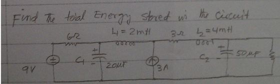 Find the total energy stored in the circuit.