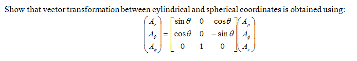 Show that vector transformation between cylindrica