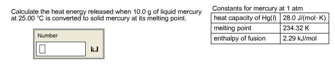 Calculate the heat energy released when 10.0g of l