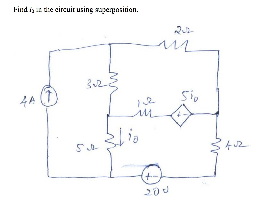 Find io in the circuit using superposition.