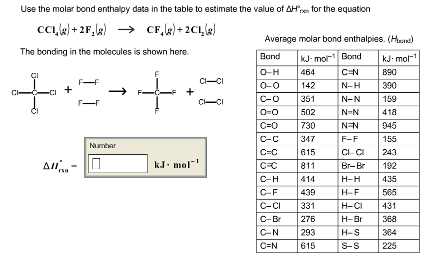 Use the molar bond enthalpy data in the table to e for Delta h table chemistry