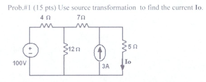 Use source transformation to find the current Io.
