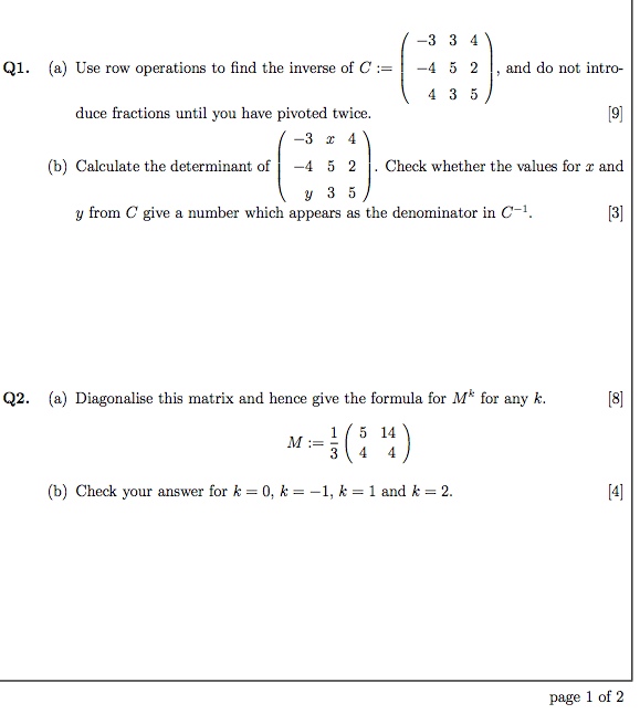 Use row operations to find the inverse of C := ,
