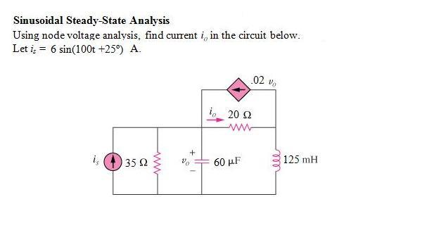 Using node voltage analysis, find current io in th