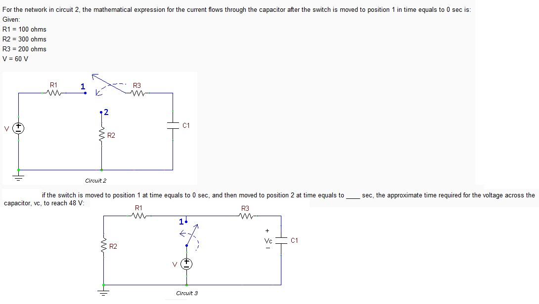 For the network in circuit 2, the mathematical exp