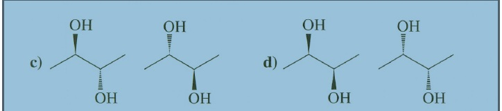 how come c) identical while d) enantiomer? thanks