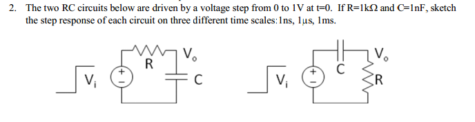 The two RC circuits below are driven by a voltage