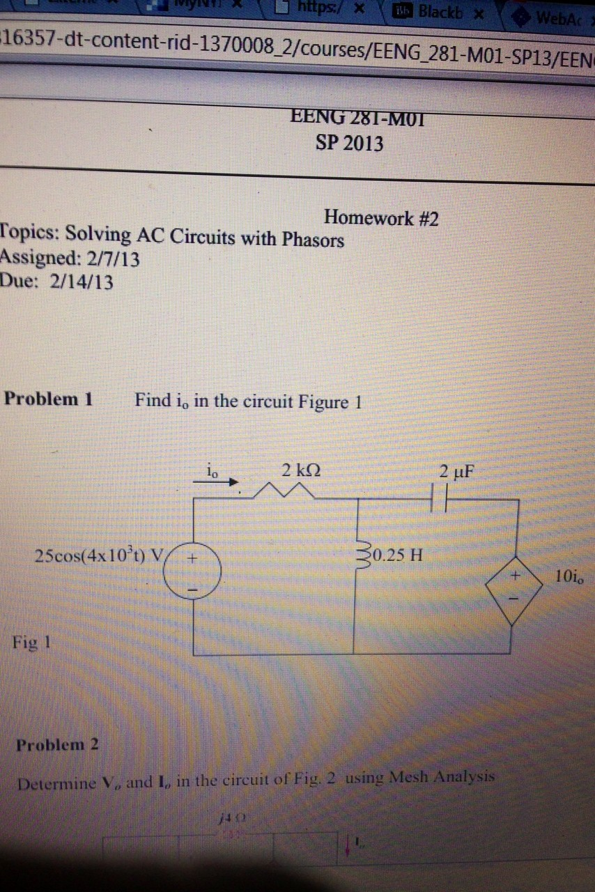 Find i0 in the circuit Figure 1 Fig 1 Determine