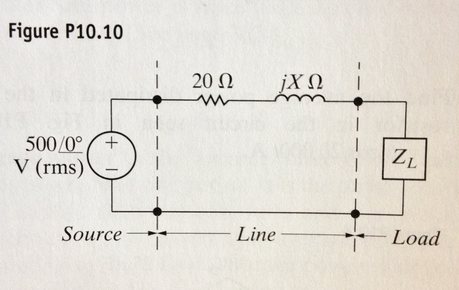 The load impedance in the figure below absorbs 250