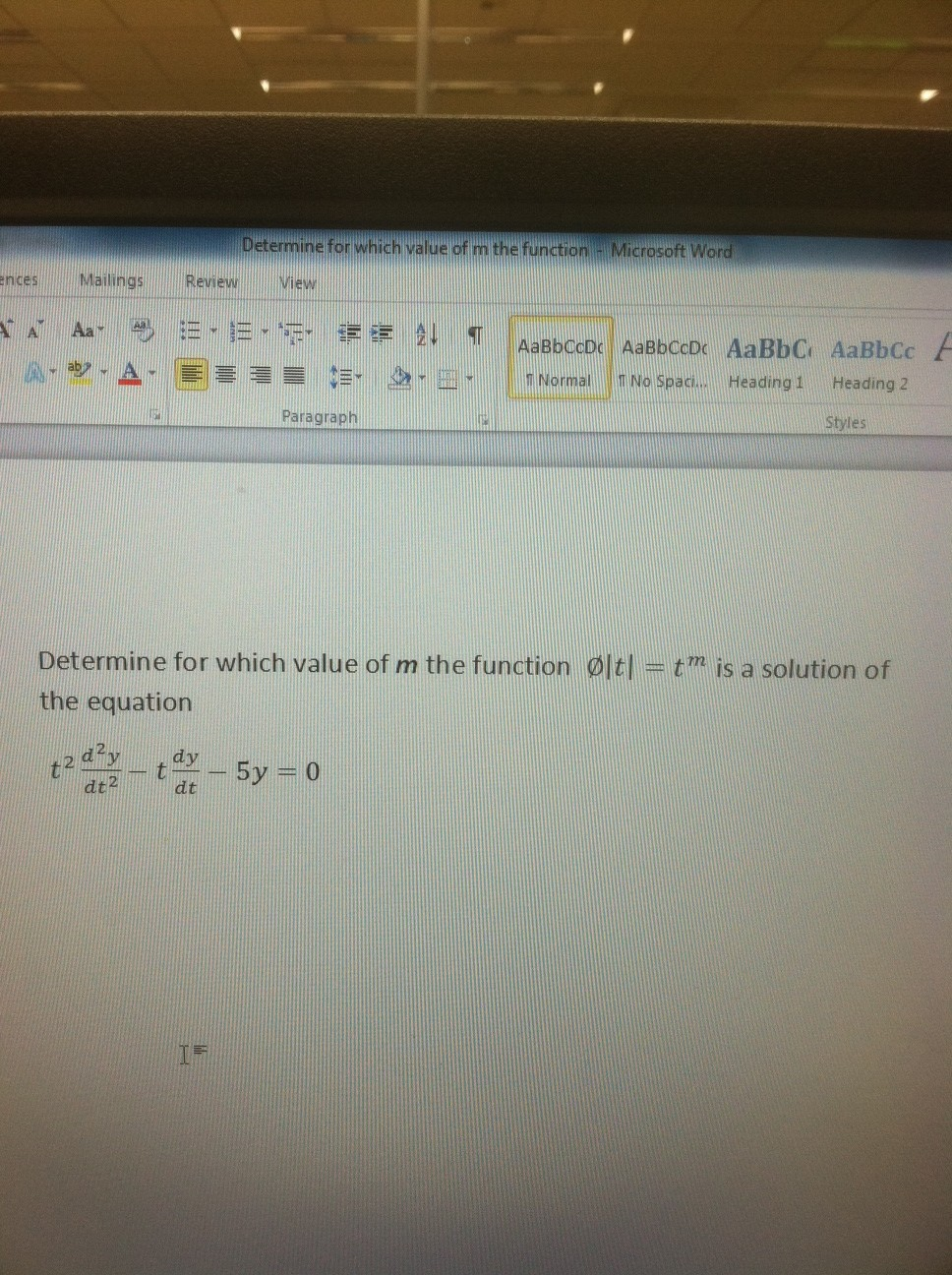 Determine for which value of m the function phi |t