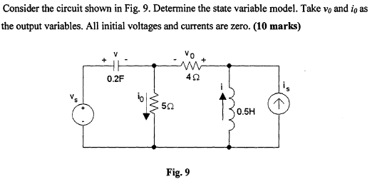 Consider the circuit shown in Fig. 9. Determine th