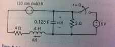 Find v(t) for t>0. Assume steady state conditions