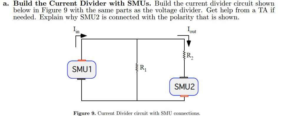 Build the Current Divider with SMUs. Build the cur