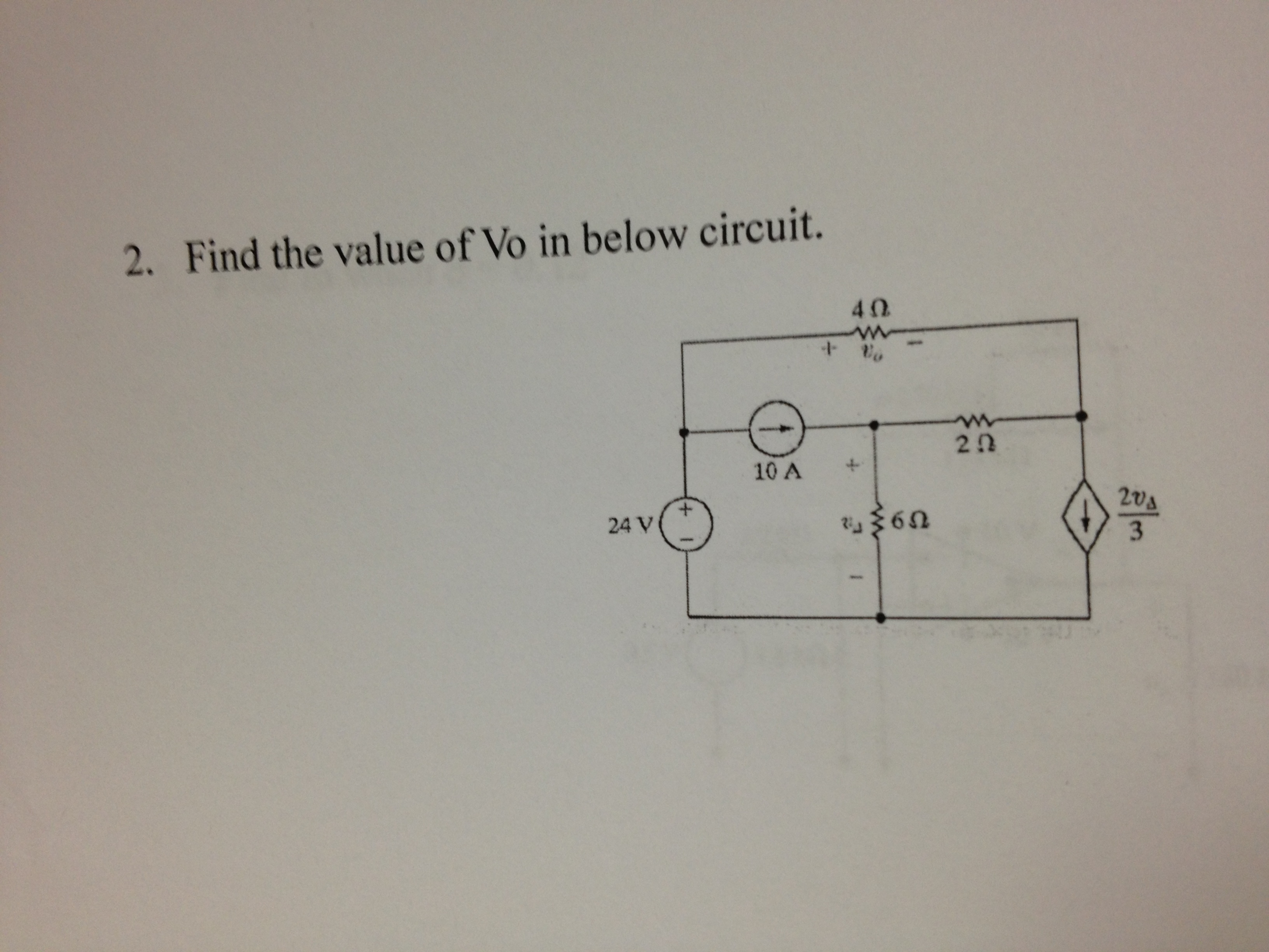 Find the value of Vo in below circuit.