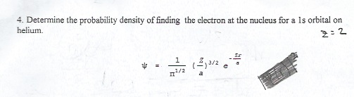 Determine the probability density of finding the e