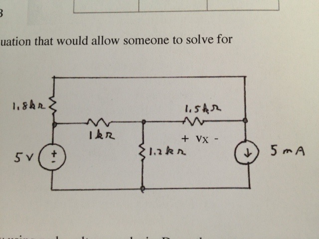 Solve for Vx in the circuit by using mesh current