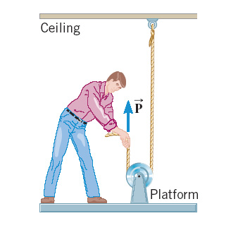 Image for A man is standing on a platform that is connected to a pulley arrangement, as the drawing shows. By pulling up
