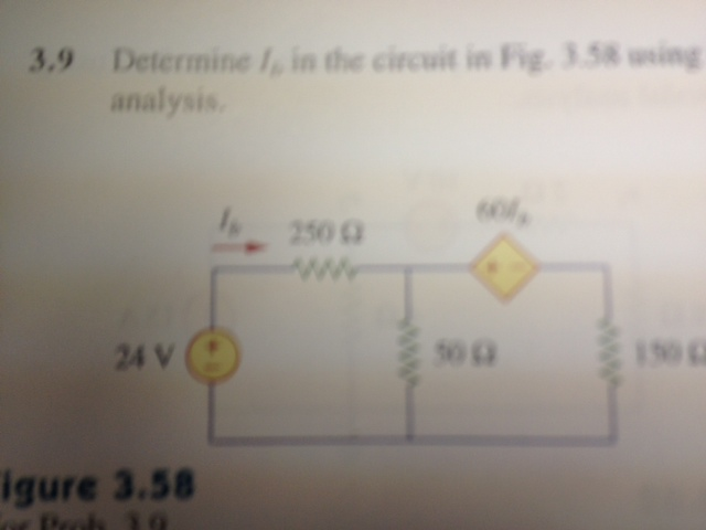 Determine Io in the circuit in Fig. 3.58 using ana