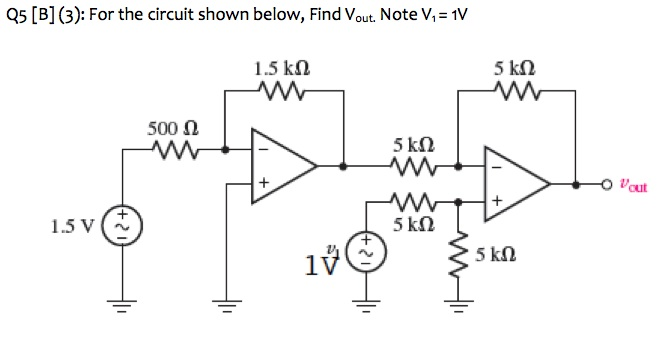 For the circuit shown below, Find Vout. Note V1 =