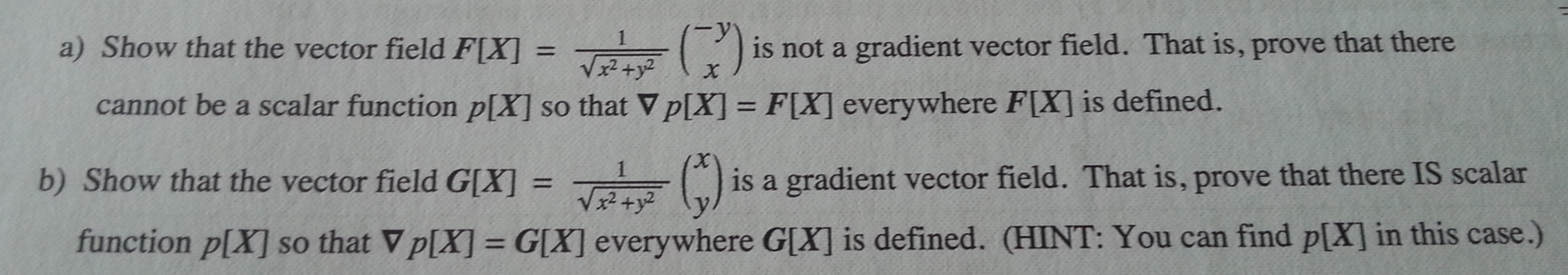 show that the vector field is not a gradient vecto