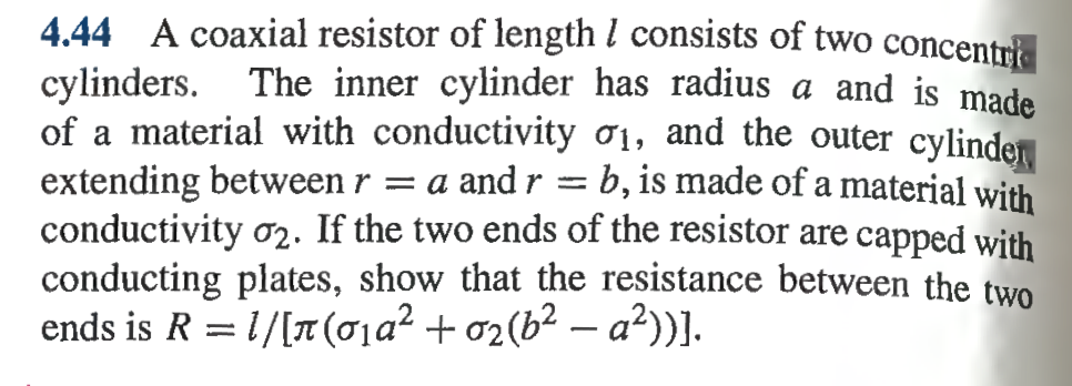 A coaxial resistor of length I consists of two co
