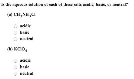 Is the aqueous solution of each of these salts aci