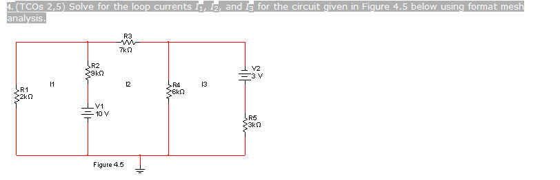 Solve for the loop currents l1, I2, and I3 for the