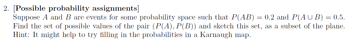 Suppose A and B are events for some probability sp