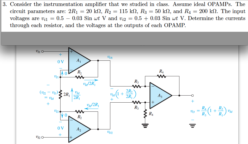 Consider the instrumentation amplifier that we stu
