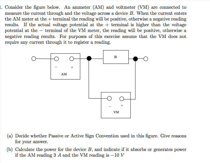 Consider the figure below. An ammeter (AM) and vol
