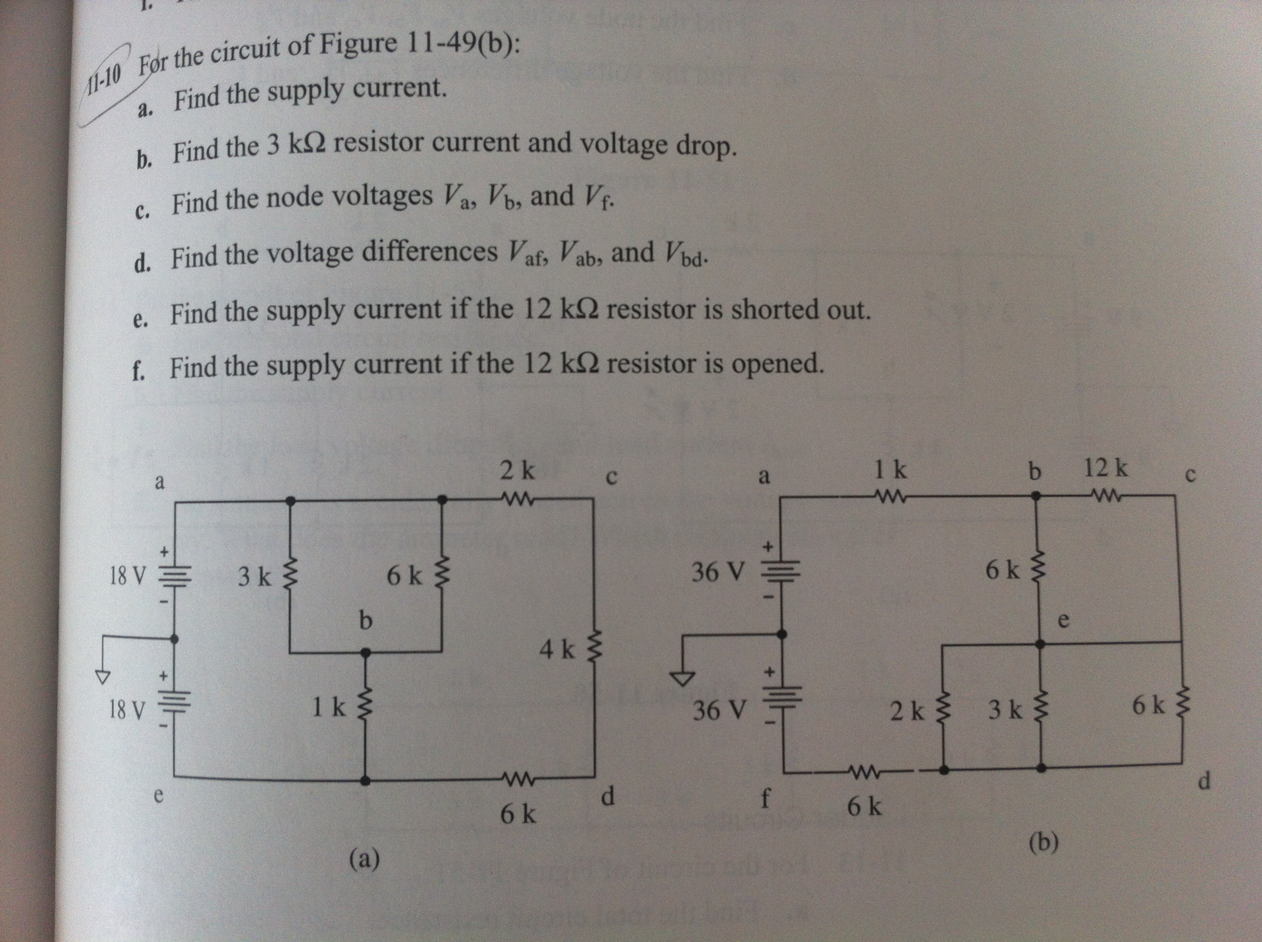 For the circuit of Figure 11-49(b): Find the suppl
