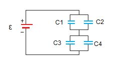 Find the charge on each capacitor. (? = 40.0 V) C