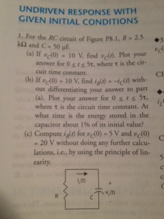 For the RC circuit of Figure P8.1.R = 2.5 k Ohm an