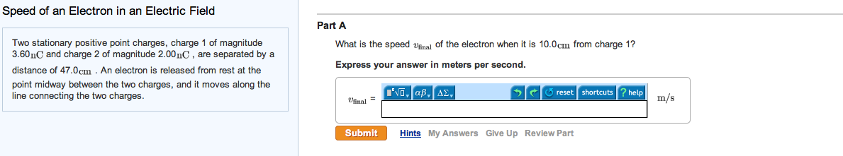 Speed of an Electron in an Electric Field Two sta