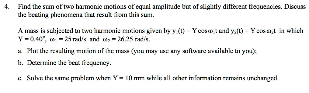 Find the sum of two harmonic motions of equal ampl