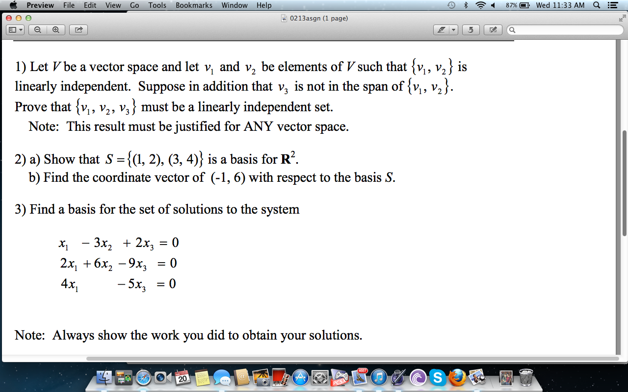 Vector space and span