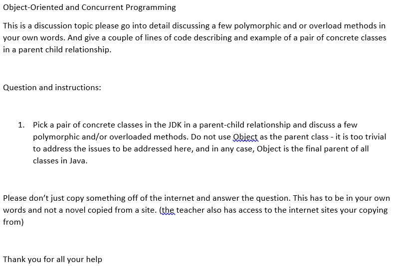 concrete classes in the jdk a parent child relationship