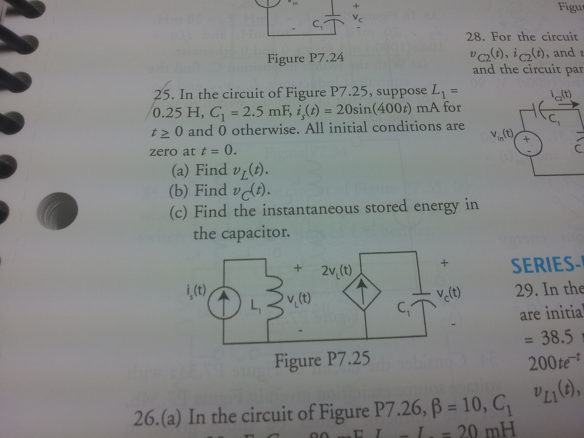 In the circuit of Figure P7.25, suppose L1 = 0.25