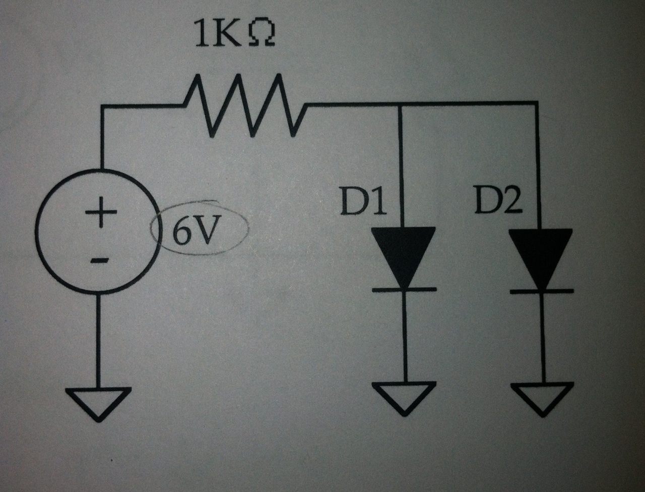 Given that the diode D1 has Is=1x10^-13A and D2 ha